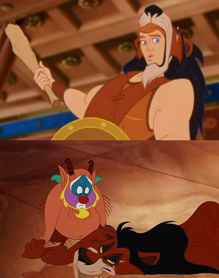 Image result for hercules wearing scar from lion king