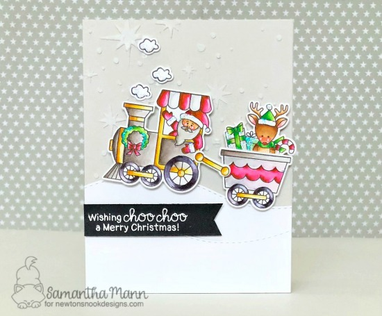 Wishing Choo-Choo a Merry Christmas Card by Samantha Mann | All Aboard for Christmas Stamp Set by Newton's Nook Designs #netwonsnook #handmade