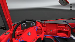 Red and Blue Scania interior