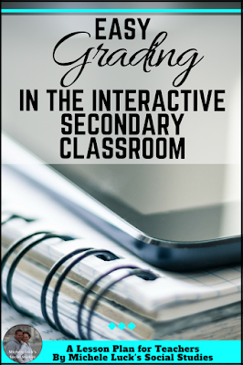 Grading an Interactive Notebook in the middle or high school classroom can be a challenge, but these ideas and tips will help you stay organized and keep your students on task! The last tip was my lifesaver!