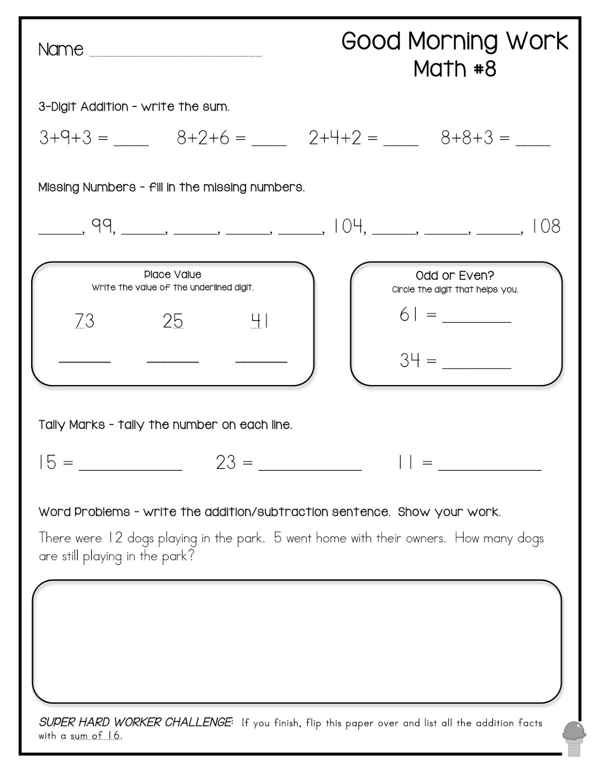 1st Grade Morning Worksheet