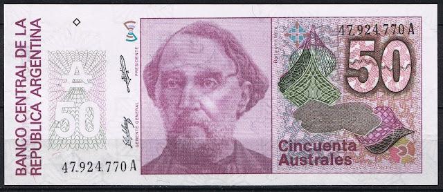 Argentina Banknotes 50 Australes banknote 1989 Lieutenant General Bartolome Mitre, President of Argentina
