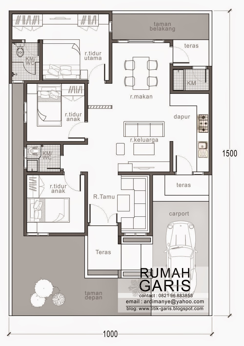 Desain rumah tipe 90 di lahan 10x15 meter rumah garis arsitek makassar gowa takalar ccuart Choice Image