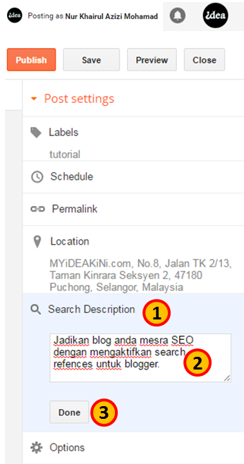 Settings Search Preferences Description Blog Post