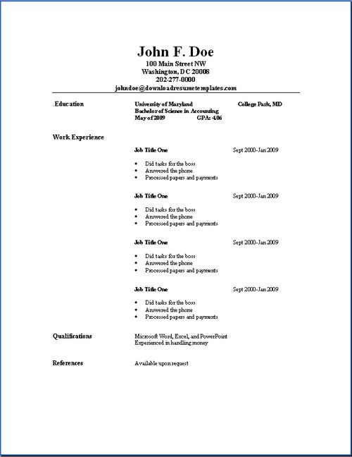 simple resume sles sle resumes