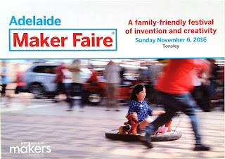 The postcard in landscape orientation has text across the top: Adelaide Maker Faire. A family-friendly festival of invention and creativity. Sunday November 6, 2016, Tonsley. The photo image across the bottom two-thirds of the card is of a child being pulled along on a hover mat. Superimposed on the bottom left corner of the photograph is the logo of South Australian Makers.