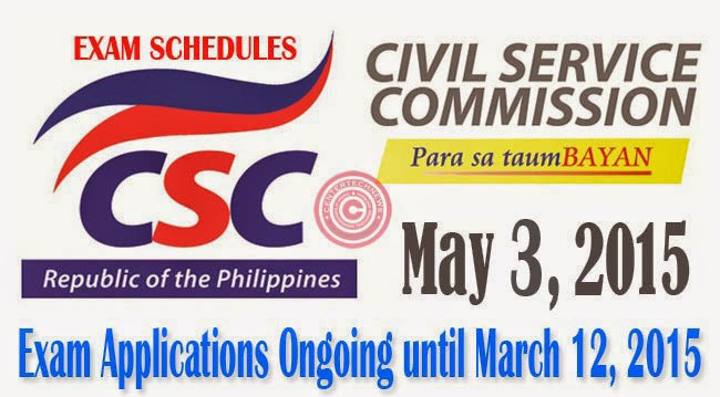 Civil Service Exam (CSE-PPT) Application for May 3, 2015 is Ongoing until March 12, 2015