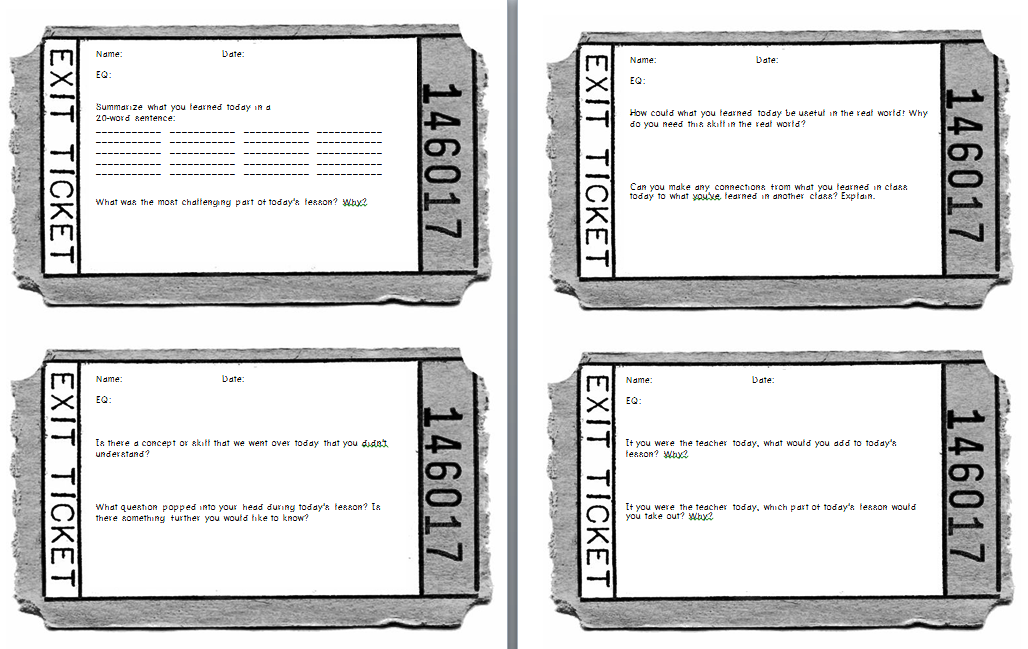 Exit Tickets Classroom Printable Template Room Design In Your Home