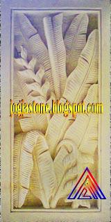 Relief dari batu alam putih Motif  Pisang-pisangan