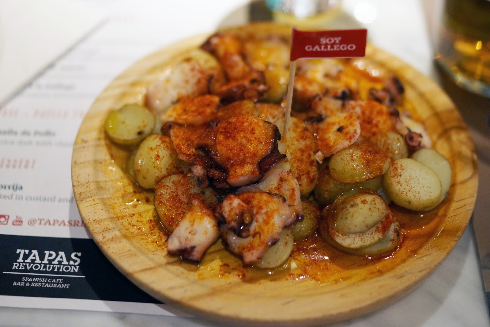 Hello Freckles Tapas Revolution Taste of Spain in Newcastle Food Review Eldon Square Estrella Galicia Pulpo