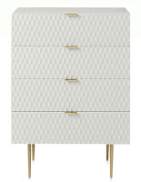 Yüzeyi bal peteği desenli, ince ayaklı, dört çekmeceli beyaz şifonyer