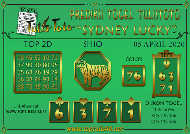 Prediksi Togel SYDNEY LUCKY TODAY TULISTOTO 05 APRIL 2020
