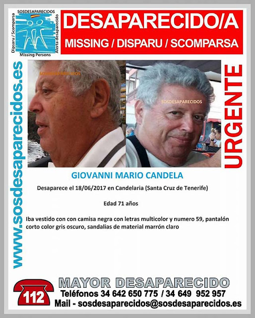 Hombre desaparecido Candelaria, Tenerife, Giovanni Mario Candela
