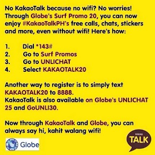 Globe UNLICHAT to KakaoTalk only 20 pesos for 1 day