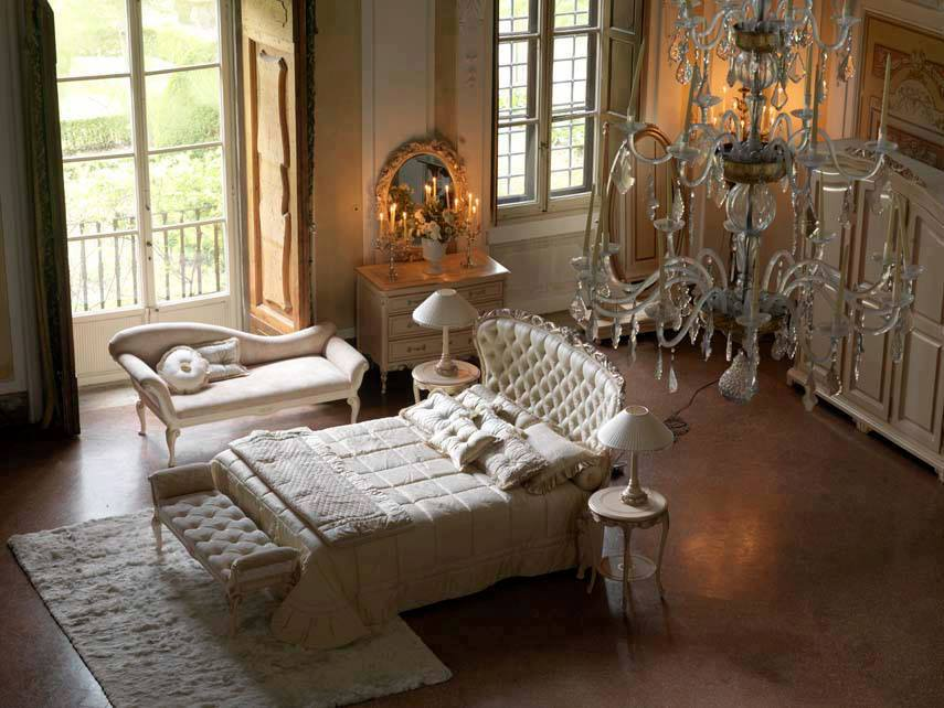 Carving French Style White Capitone Bed