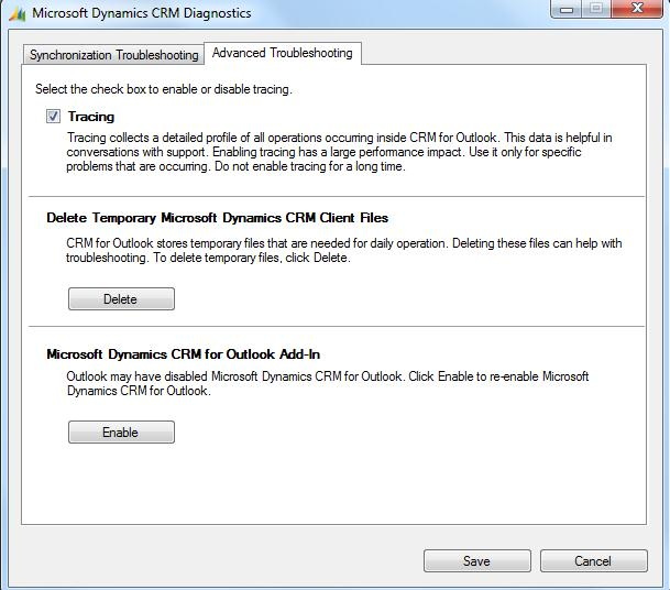 Enabling Traces in Microsoft Dynamics CRM 2011 Outlook