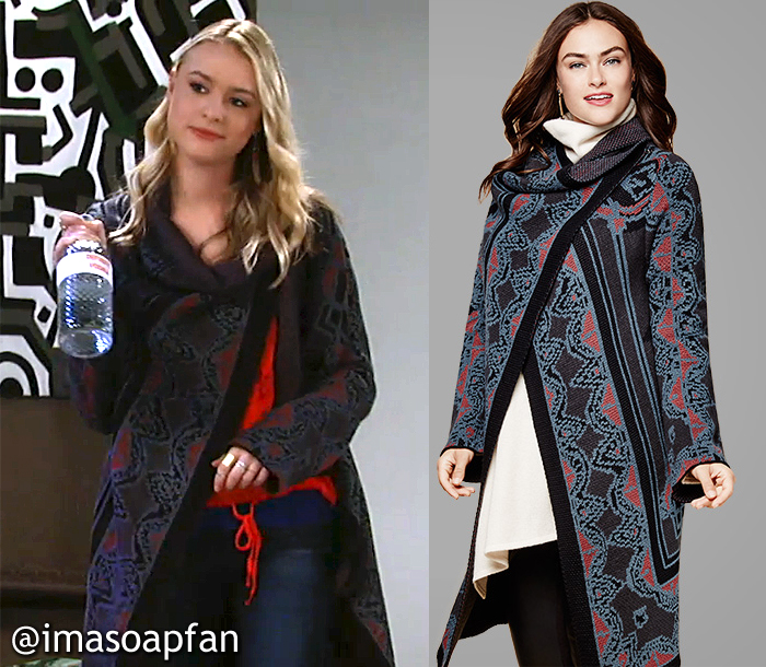 Kiki Jerome, Hayley Erin, Multicolored Intarsia Knit Sweater Coat, Macy's, GH, General Hospital