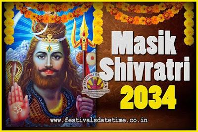 2034 Masik Shivaratri Pooja Vrat Date & Time, 2034 Masik Shivaratri Calendar