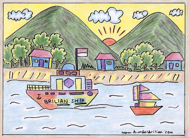 9. Gambar Sungai, Kapal dan Pegunungan