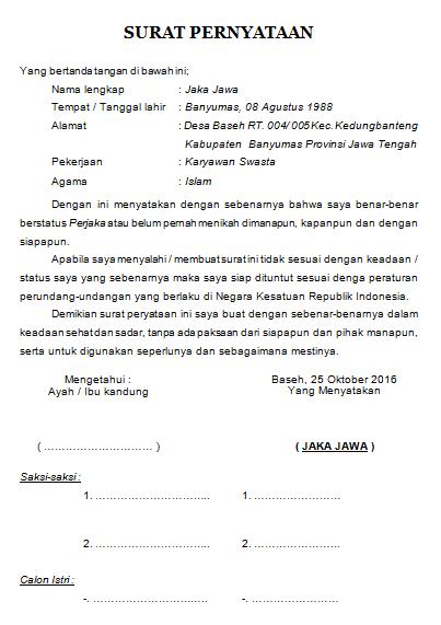 Contoh Surat Pernyataan Seorang Perjaka