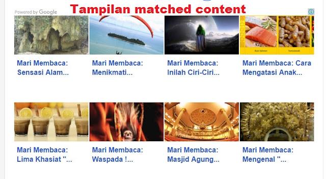 Cara Memasang Matched Content / Konten Yang Sesuai