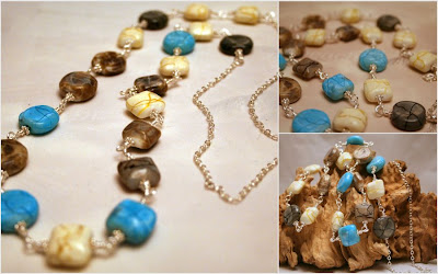 Chilean Volcanoes: ceramic beads, sterling silver, wire wrapped necklace :: All Pretty Things