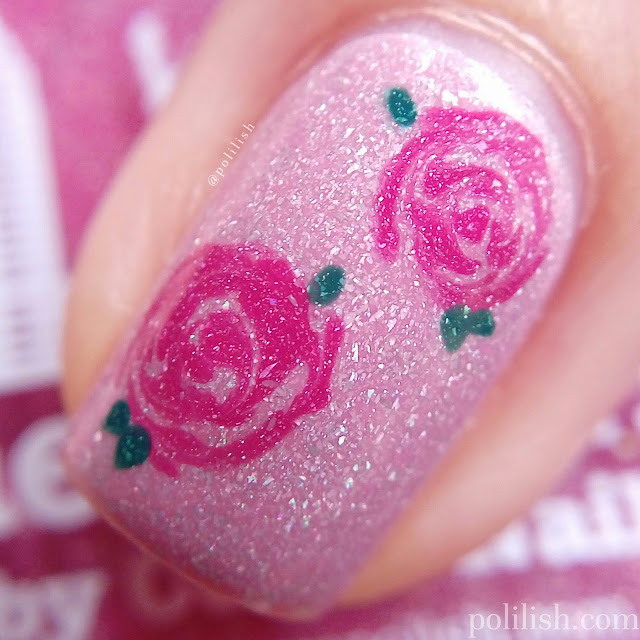Freehand dry marble rose nail art for piCture pOlish nail art contest 2017   polilish