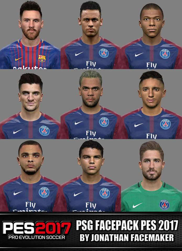 PSG + Messi facepack PES 2017 by Jonathan Facemaker