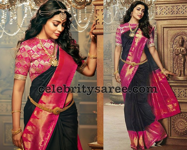 Shriya Saran Black Silk Saree