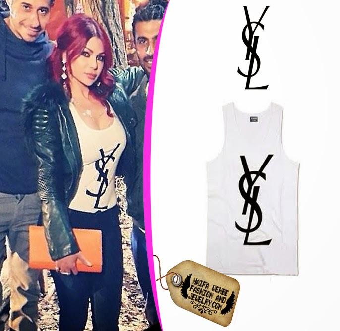 85607e4356 Haifa Wehbe Wearing Yves Saint Laurent logo print tank top