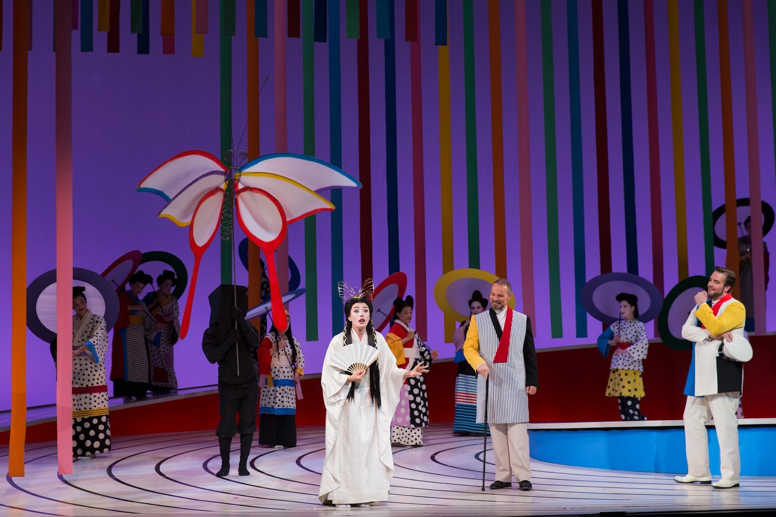 IN PERFORMANCE: (from left to right) Soprano ERMONELA JAHO as Cio-Cio-San, baritone TROY COOK as Sharpless, and tenor BRIAN JAGDE as Benjamin Franklin Pinkerton in Washington National Opera's production of Giacomo Puccini's MADAMA BUTTERFLY, May 2017 [Photo by Scott Suchman, © by Washington National Opera]
