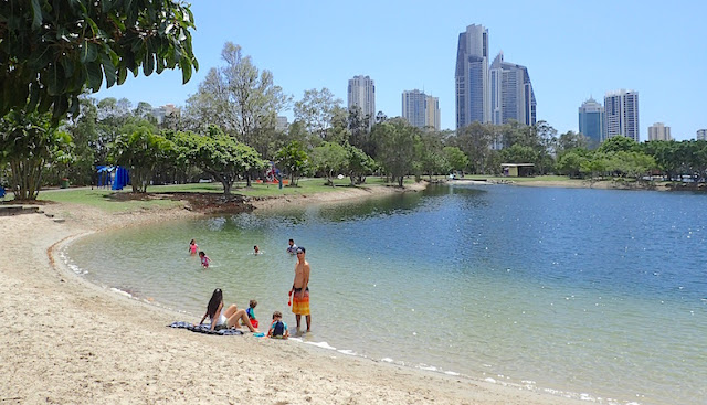 Gold Coast Australia's Evandale sculpture walk pond, sandy and swimmable