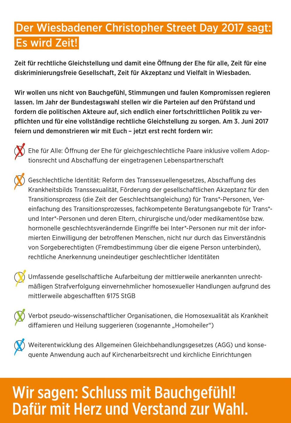 Kurz Zusammengefasst Folgen Hier Die Forderungen Des CSD Wiesbaden 2017 Noch Vor Der Eheffnung Daher Ist Dieser Punkt Enthalten