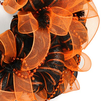 party ideas by mardi gras outlet halloween wreath with deco mesh a video tutorial. Black Bedroom Furniture Sets. Home Design Ideas