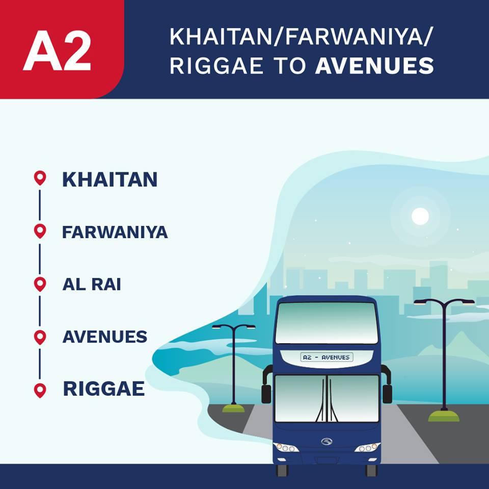 A2 Kuwait Bus Route A2 Khaitan - Farwaniya - Al Rai – The Avenues - Riggae KuwaitBus 1