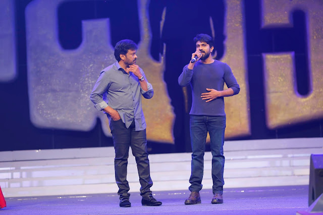 Ramcharan, chiranjeevi at Khaidi no 150 pre release event