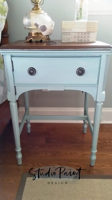 turn a sewing cabinet into a night stand, end table, painted end table, refinished night stand