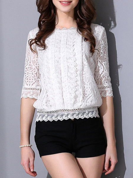 White Pierced Crew Neck Lace 3/4 Sleeve Cropped Top