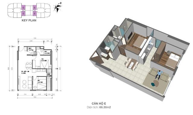 Căn hộ E có diện tích 66m2 với thiết kế 02 phòng ngủ