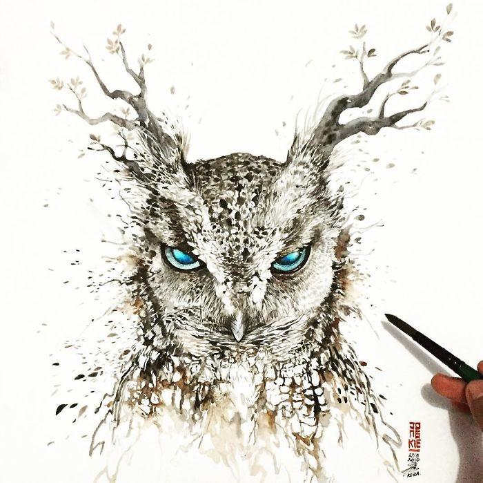 02-Tree-Owl-Jongkie-art-Luqman-Reza-Mulyono-Vibrant-Fantasy-Watercolor-Animal-Paintings-www-designstack-co