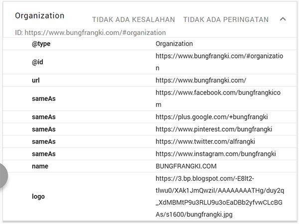 Cara pasang Schema.org type organizaton di blog