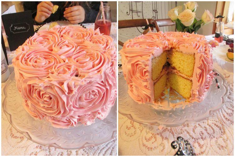 Pink rosette birthday cake