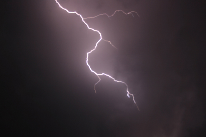 Fierce lightning strike against a dark sky