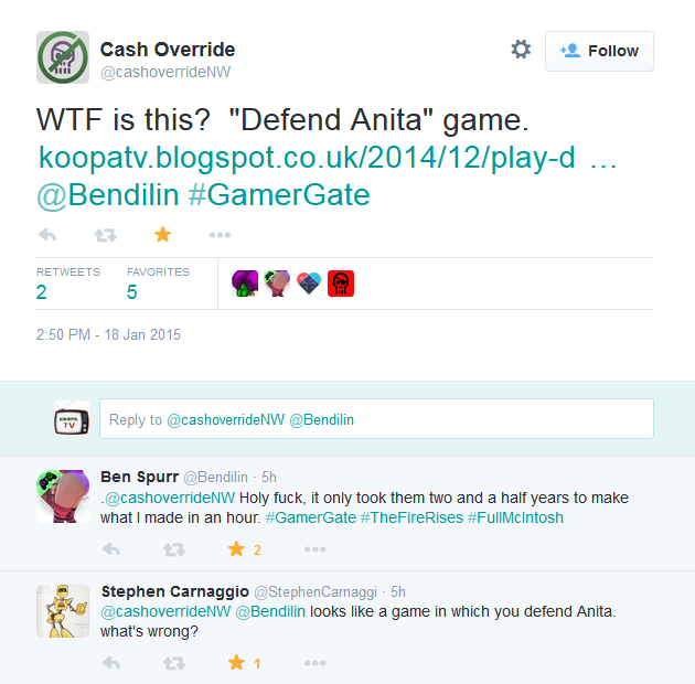 Bendilin Twitter Defend Anita Sarkeesian game GamerGate #TheFireRises