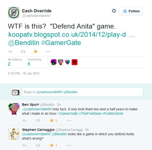 Bendilin Twitter Defend Anita Sarkeesian game GamerGate #TheFireRises