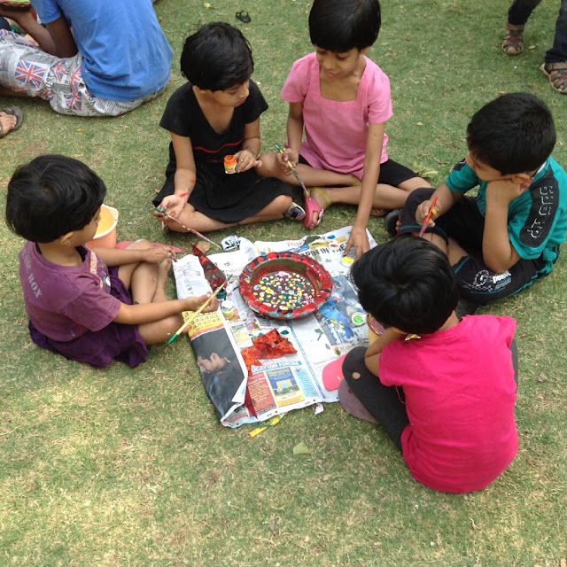 Kids paint earthen pots at their Holi celebrations - 3 (Event organised by Indiaart Gallery and Suyog Mitra Mandal)