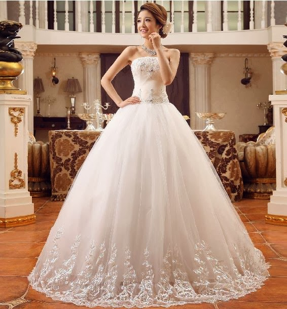 Strapless Liques Beading White Color Bridal Gown Wedding Dress My
