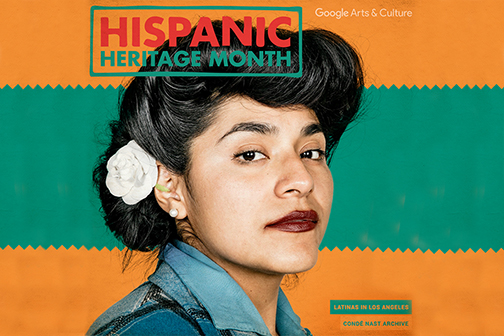 Google poster for Hispanic Heritage month featuring a Latina woman in 50s vintage attire, with a flower in her hair looking at camera.