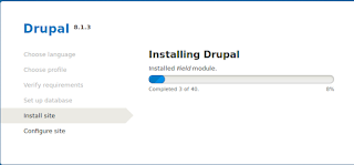 proses instalasi drupal berjalan