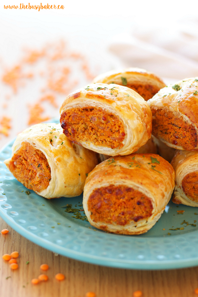 Vegetarian Red Lentil Sausage Rolls make the perfect vegetarian appetizer! www.thebusybaker.ca